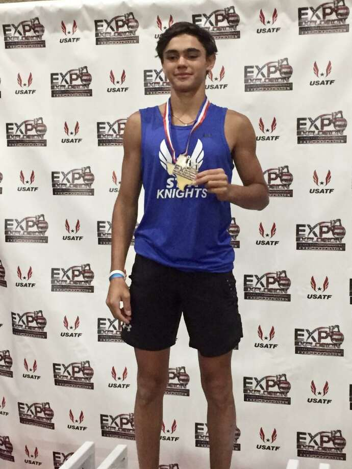 St. Augustine's Efram Melendez cleared 14-foot-8 last week to take first place at the Texas EXPO Explosion pole vault meet. Photo: Courtesy