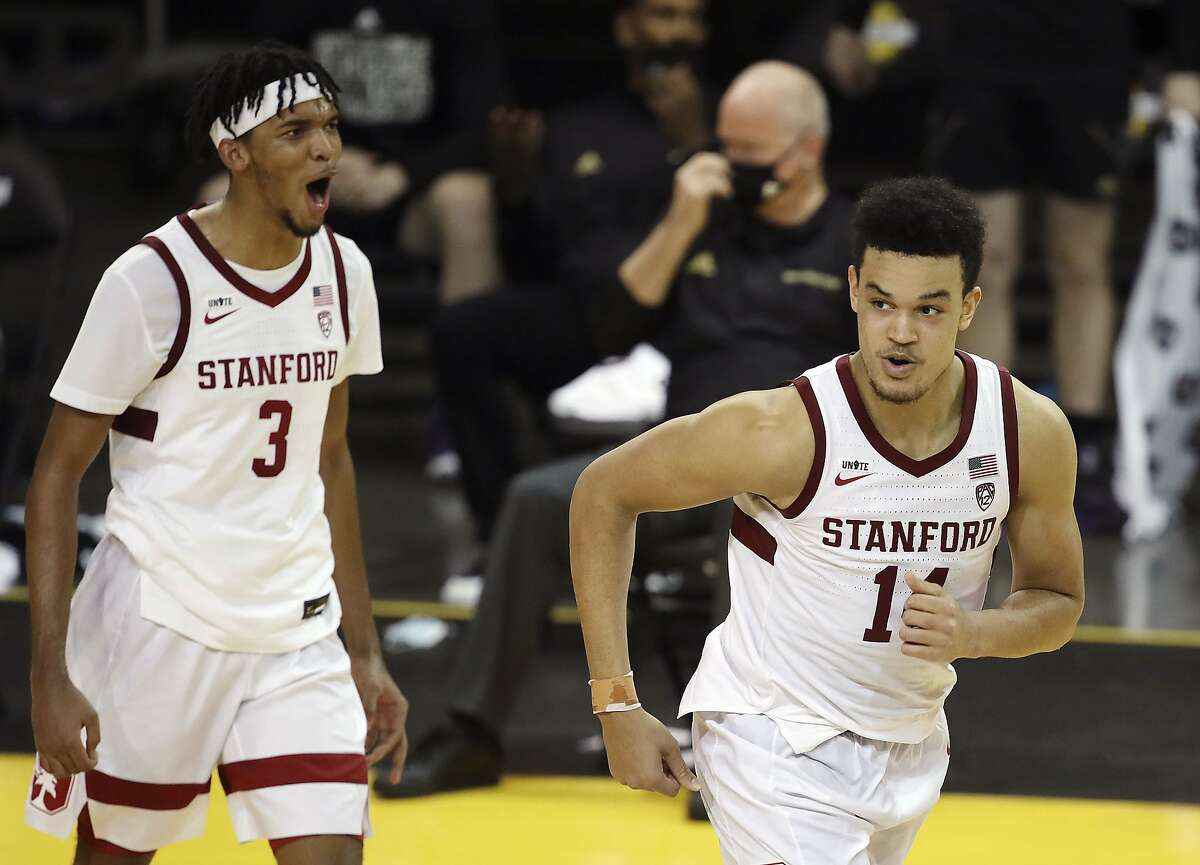Stanford forward Ziaire Williams (3) celebrates with forward Spencer Jones (14) after scoring against Washington during the first half of an NCAA college basketball game in Santa Cruz, Calif., Thursday, Jan. 7, 2021. (AP Photo/Josie Lepe)