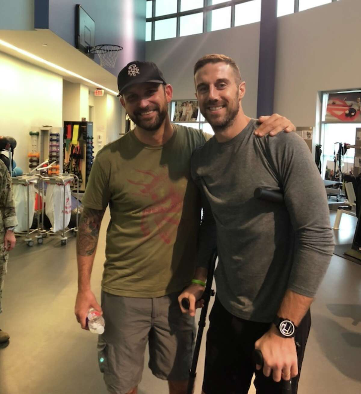 Jared LaDuke shared his experience of a severe leg injury with NFL quarterback Alex Smith at the Center for the Intrepid in San Antonio. Smith spent time in San Antonio for rehab after a