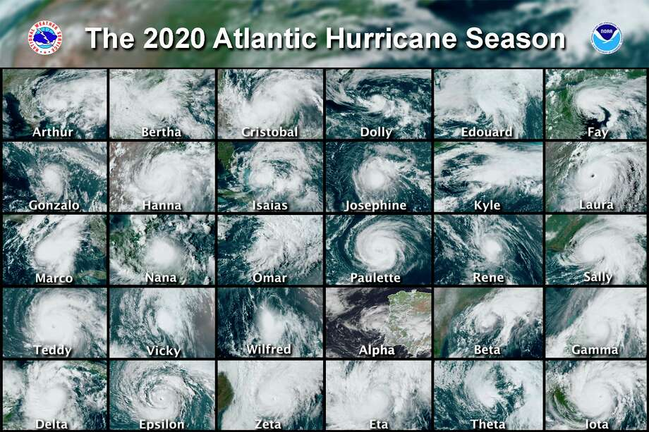 This combination of satellite images provided by the National Hurricane Center shows 30 hurricanes which occurred during the 2020 Atlantic hurricane season. (National Hurricane Center via AP) / National Hurricane Center
