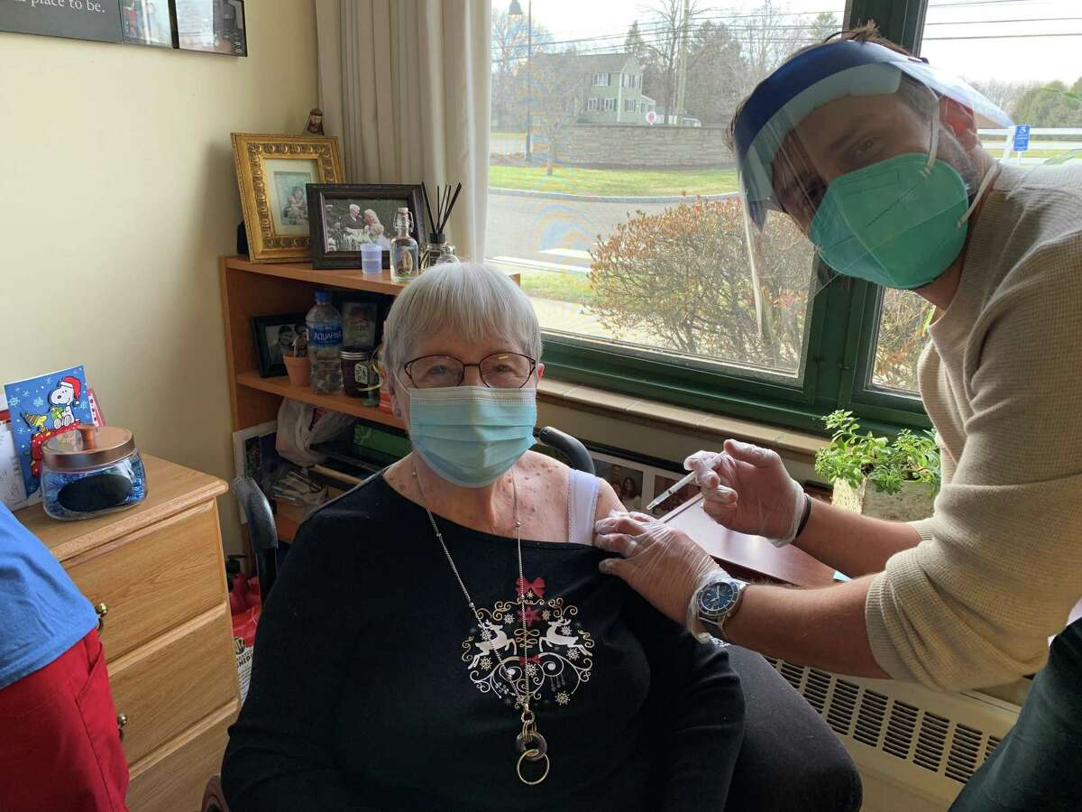Bishop Wicke Health Center resident Barbara Charles received the COVID-19 vaccine on Dec. 30.