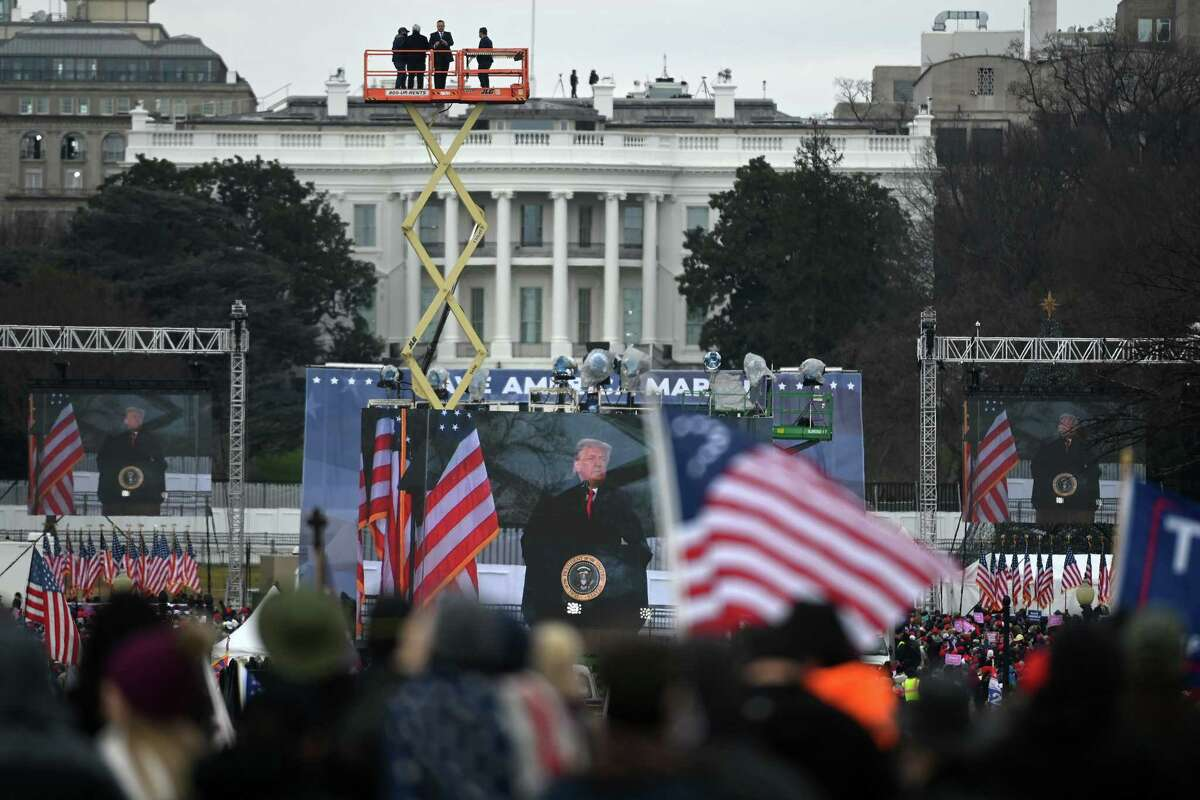 President Trump speaks to supporters gathered at the White House on Jan. 6, 2021, in Washington, D.C.