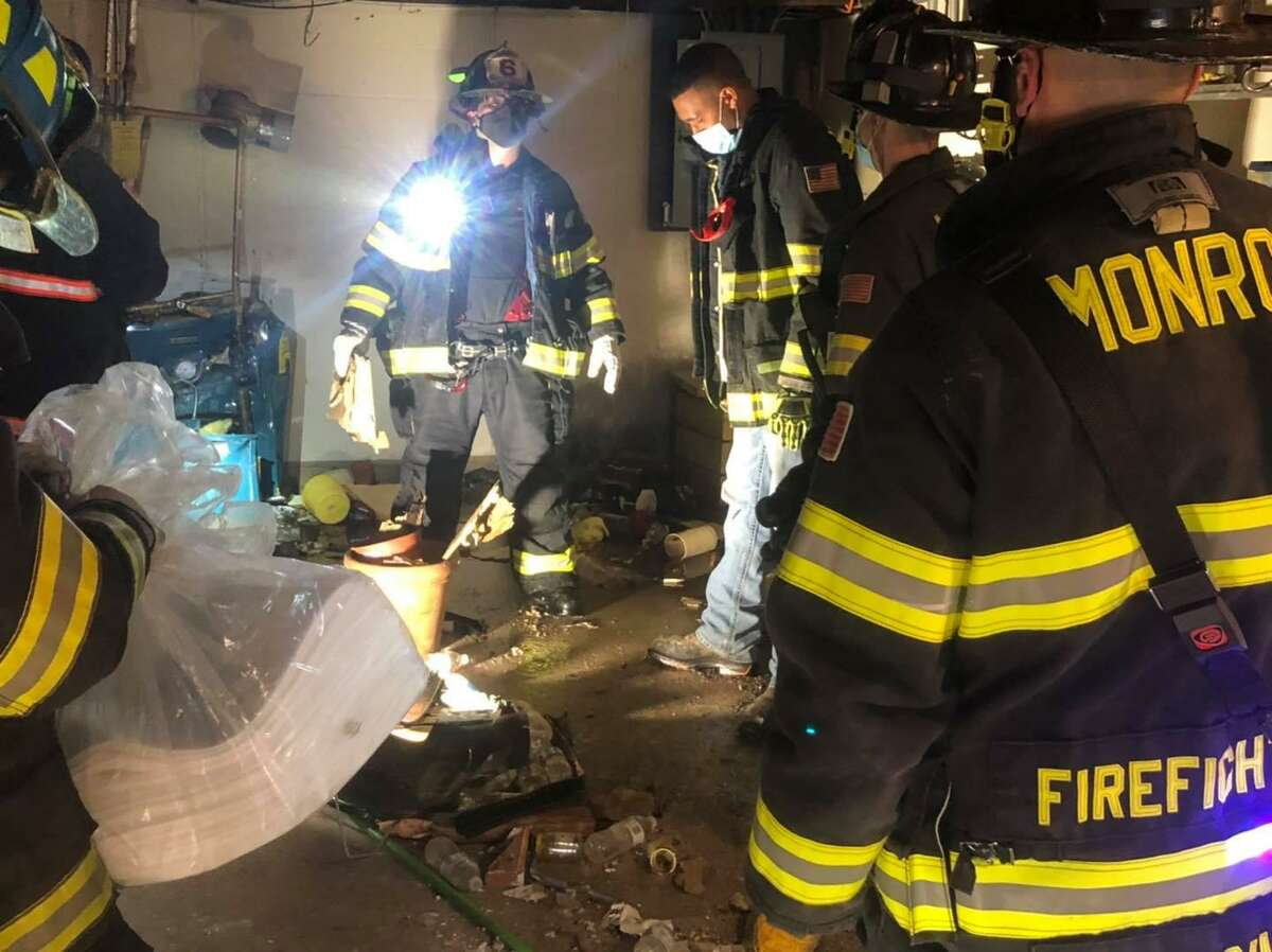 Fire units on scene after a crash in Monroe, Conn., on Wednesday, Jan. 6, 2021.