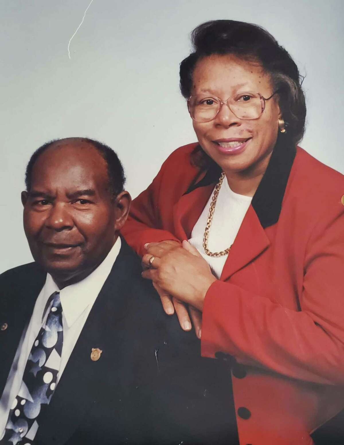 Spencer White Jr. and Beulah White, Carl White's parents. Spencer White Jr. was the first Black deputy constable for the Montgomery County Sheriff's Office in the early 1980s.
