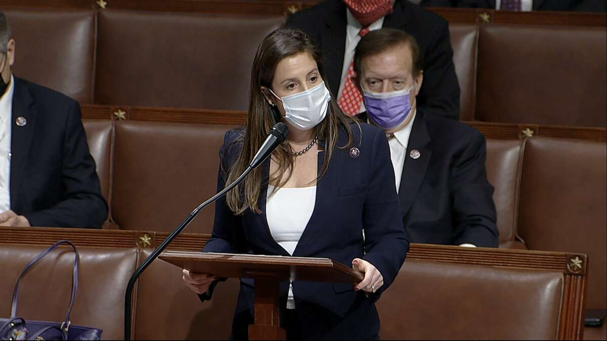 In this image from video, Rep. Elise Stefanik, R-N.Y., speaks as the House reconvenes to debate the objection to confirm the Electoral College vote from Arizona, after protesters stormed into the U.S. Capitol on Wednesday, Jan. 6, 2021. (House Television via AP)