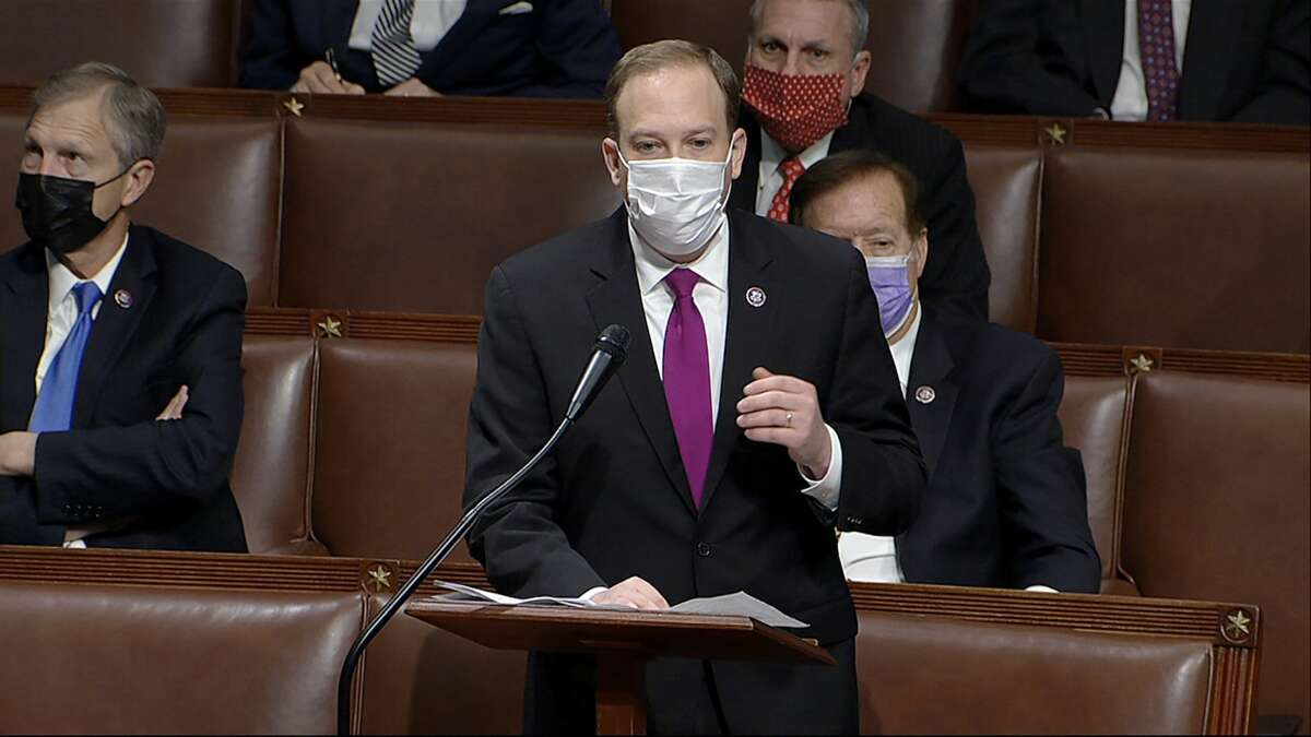 In this image from video, Rep. Lee Zeldin, R-N.Y., speaks as the House reconvenes to debate the objection to confirm the Electoral College vote from Arizona, after protesters stormed into the U.S. Capitol on Wednesday, Jan. 6, 2021. Zeldin was named the presumptive nominee for governor by the New York GOP on June 28, 2021. (House Television via AP)