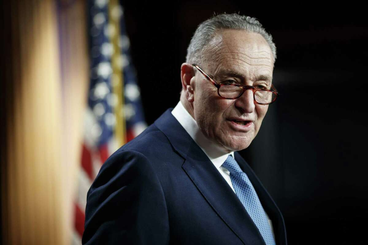 Senate Minority Leader Chuck Schumer, D-N.Y., speaks during a news conference at the U.S. Capitol in Washington on Jan. 6, 2021.