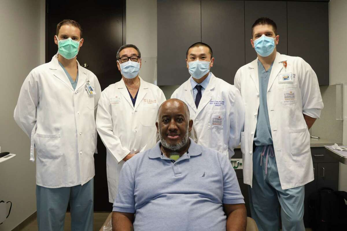 Anthony Jones with his UTHealth surgical team (from left to right) Dominik Rudecki, Mark Wong, James Melville, and John Guenther.