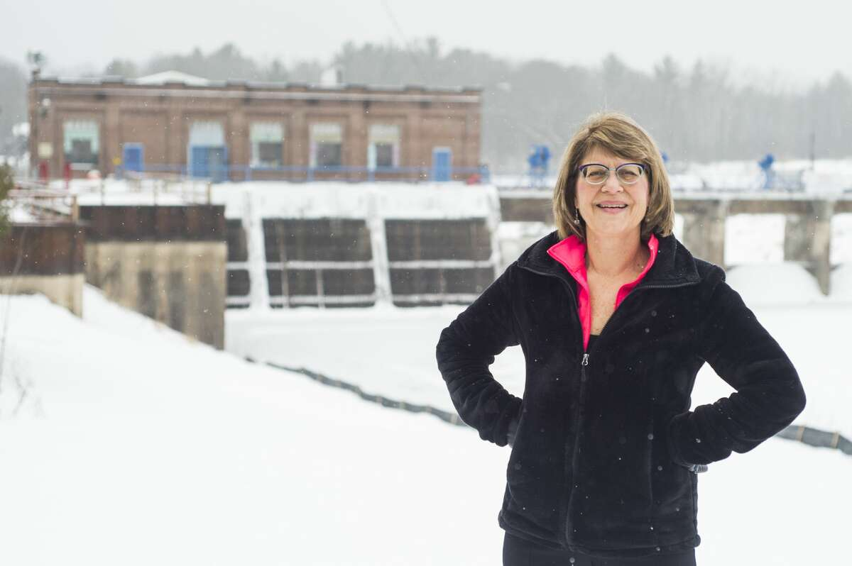 Sanford Village President Dolores Porte poses for a portrait Tuesday, Jan. 5, 2021 near the Sanford Dam. (Katy Kildee/kkildee@mdm.net)