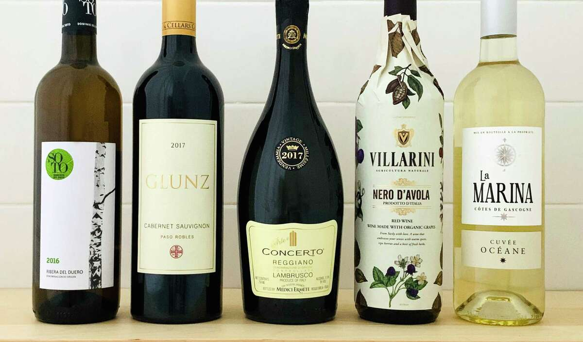From left: Dominio del Soto 2016, Glunz Family Winery Cabernet Sauvignon 2017, Medici Ermete Arte e Concerto 2017, Villarini Nero d'Avola 2019, La Marina Cuvée Oceane 2019