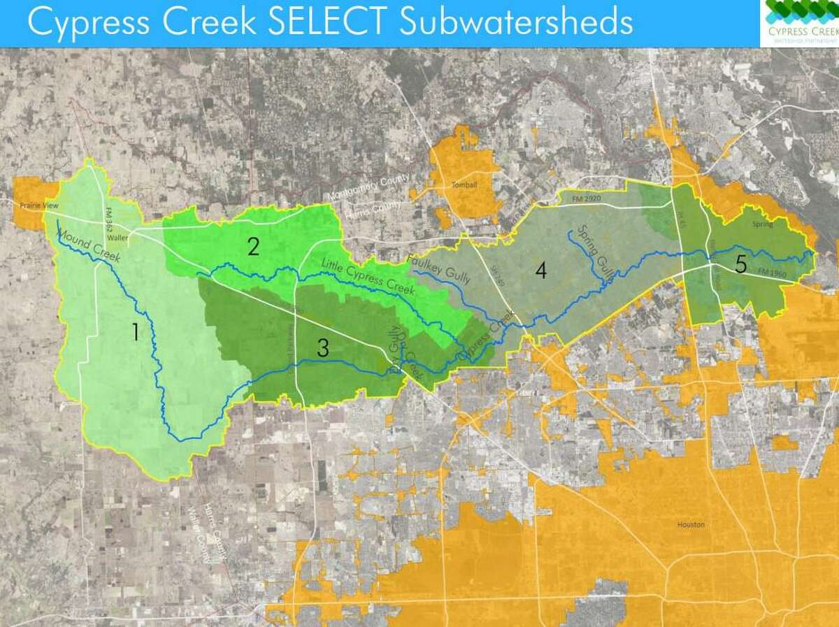 A map shows five select subwatersheds within the Cypress Creek Watershed.