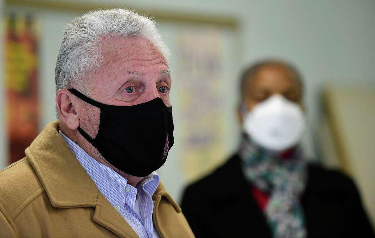 Norwalk Mayor Harry Rilling, toursa vaccination clinic at the Norwalk Senior Center Friday, January 8, 2021.