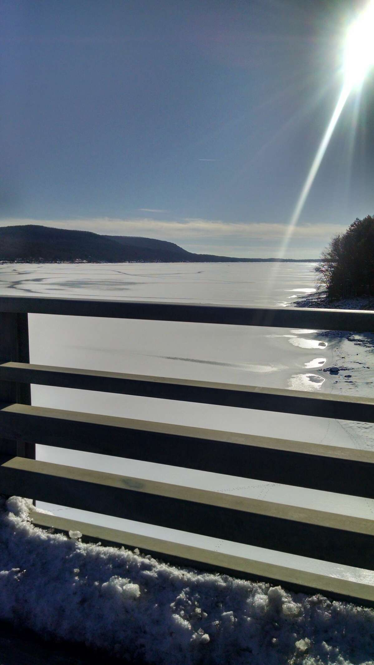 Fulton County's sheriff has issued a warning about the ice on the Great Sacandaga Lake, seen here from the Batchellerville Bridge in the lake's Saratoga County section on Jan. 8, 2021.