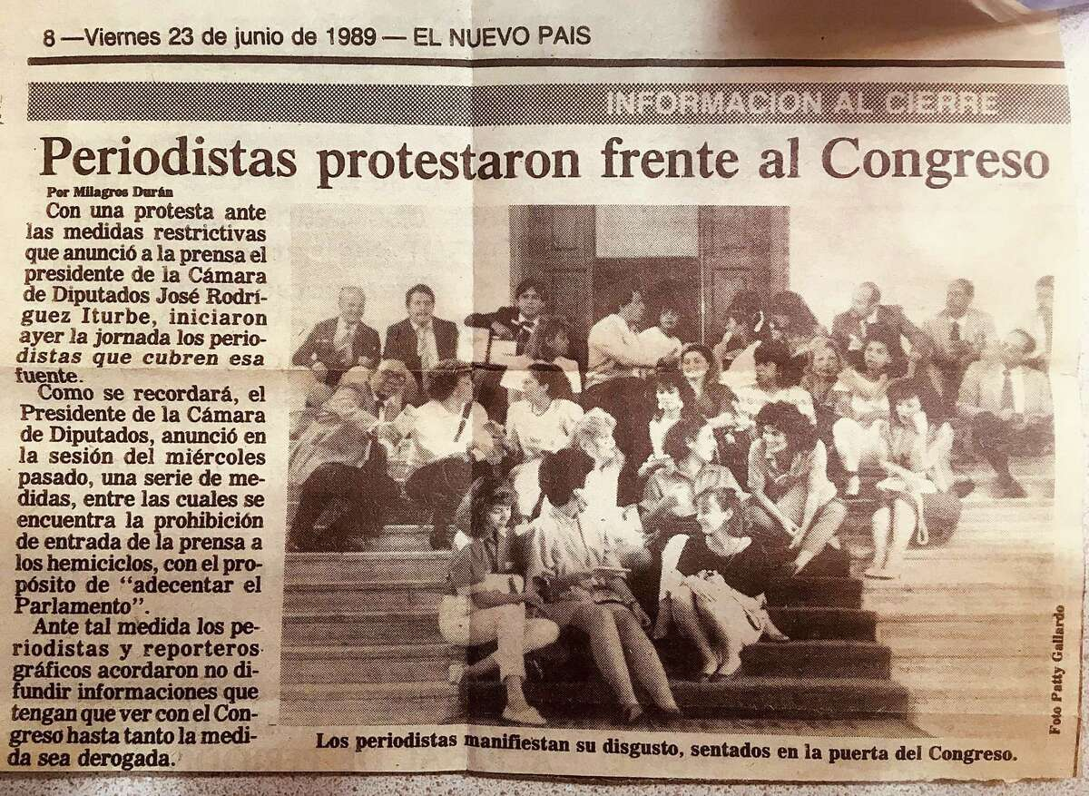 A newspaper from Venezueala with the writer in the front row.