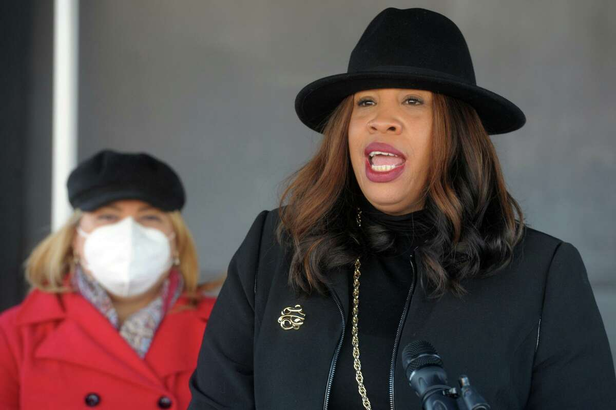 Janene Hawkins, City of Bridgeport Chief Administrative Officer, speaks at a news conference outside the Bridgeport Health Department's Communicable Disease Clinic in Bridgeport, Conn. Jan. 9, 2021.