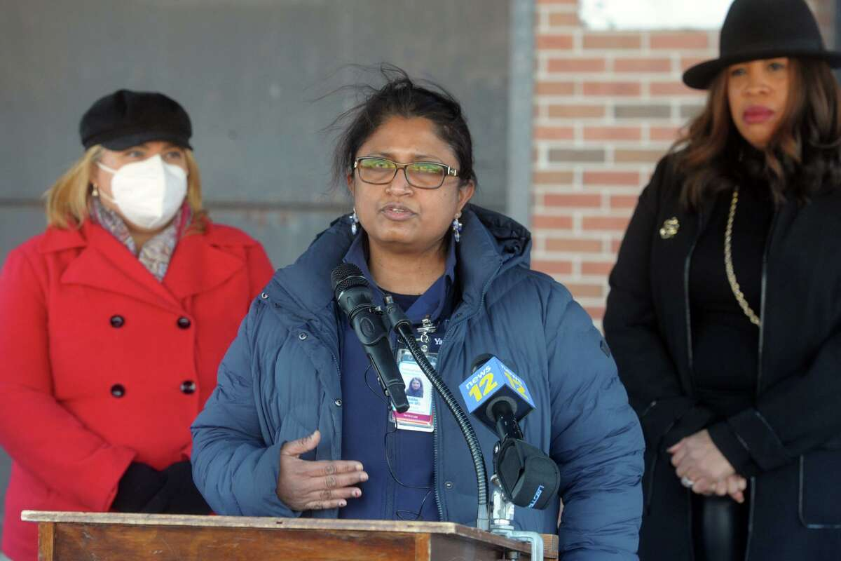 Dr. Adiba Geeti, director of the Bridgeport Health Department's Communicable Disease Clinic, speaks at a news conference in Bridgeport on Friday.