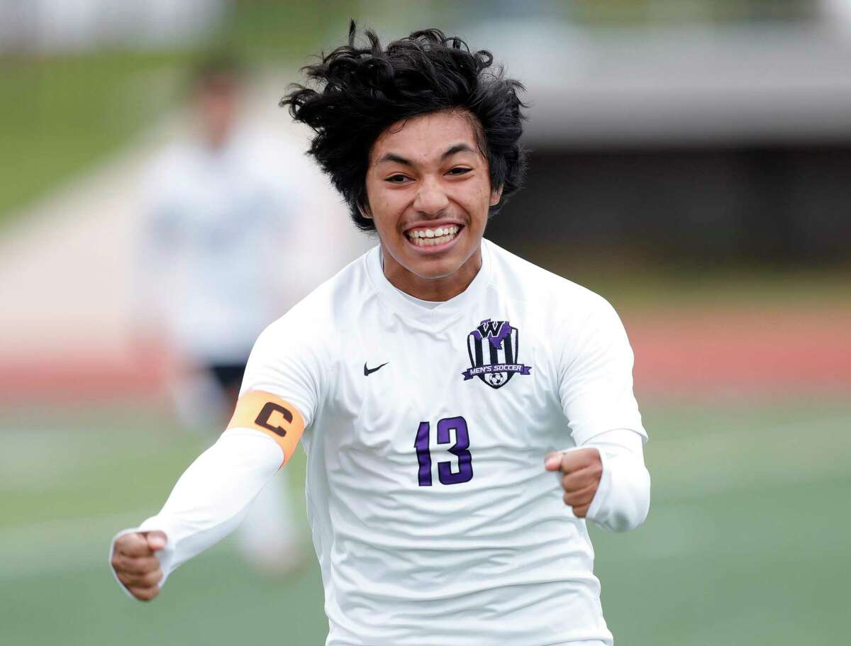 Willis' Jonah Ortigoza (13) reacts after scoring a goal in the first period of a match during the Wildkat Showcase soccer tournament at Berton A. Yates Stadium, Friday, Jan. 8, 2021, in Willis.