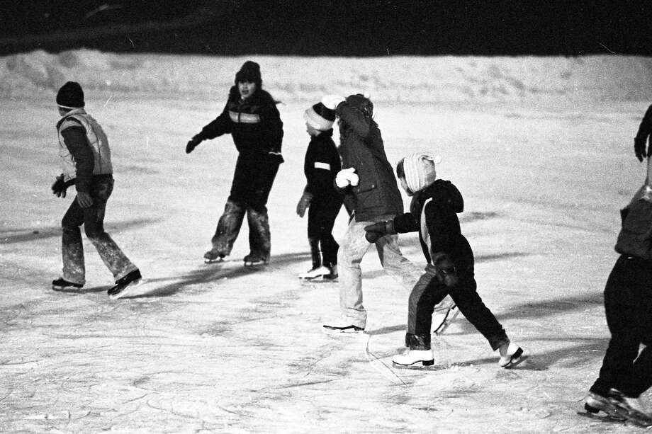 Area youth enjoyed the ice at Sands Park, in early January of 1981.(Manistee County Historical Museum photo)