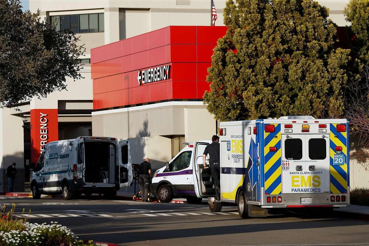 Ambulances outside the emergency room entrance at Good Samaritan Hospital in San Jose.
