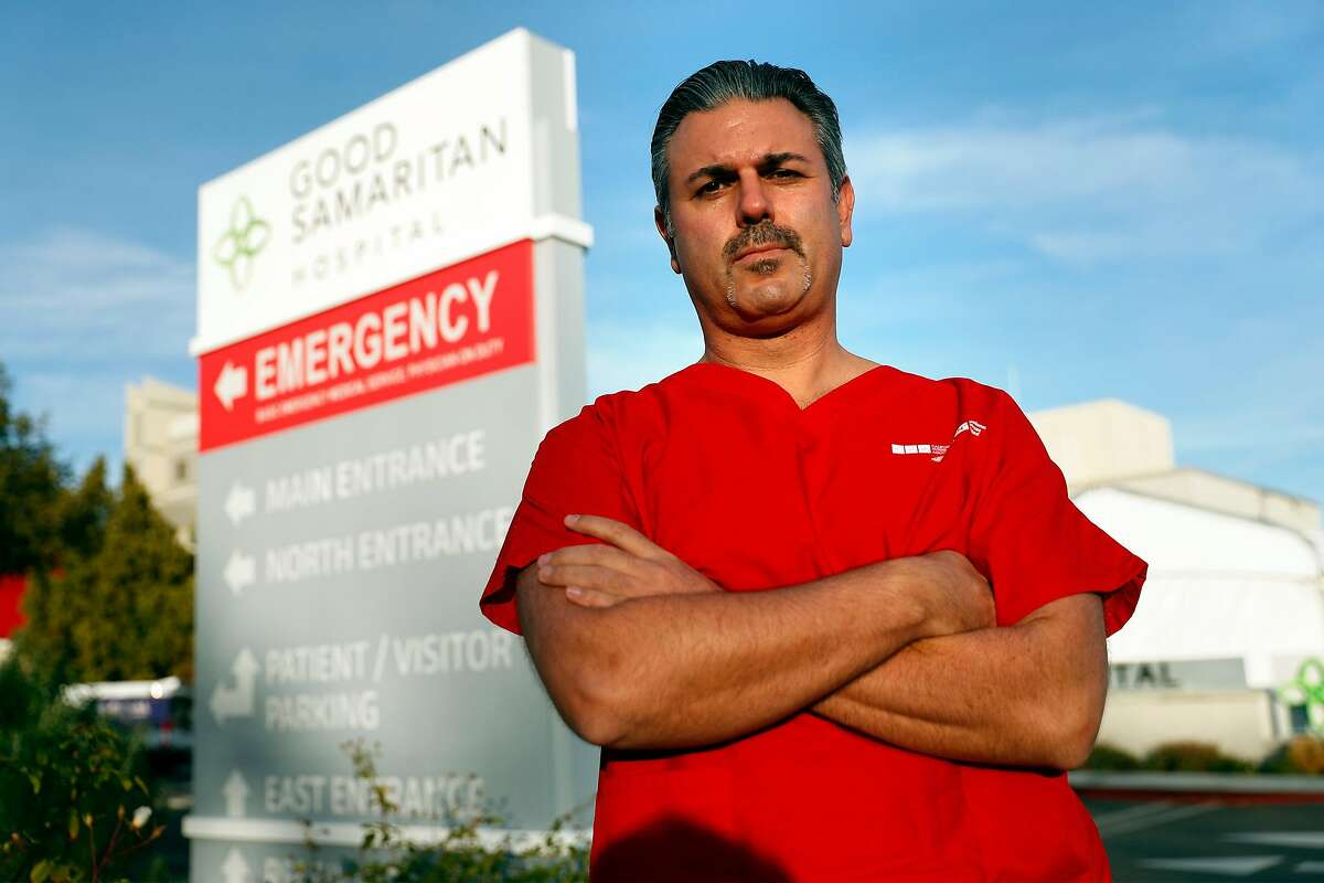 ICU nurse John Pasha outside Good Samaritan Hospital in San Jose.