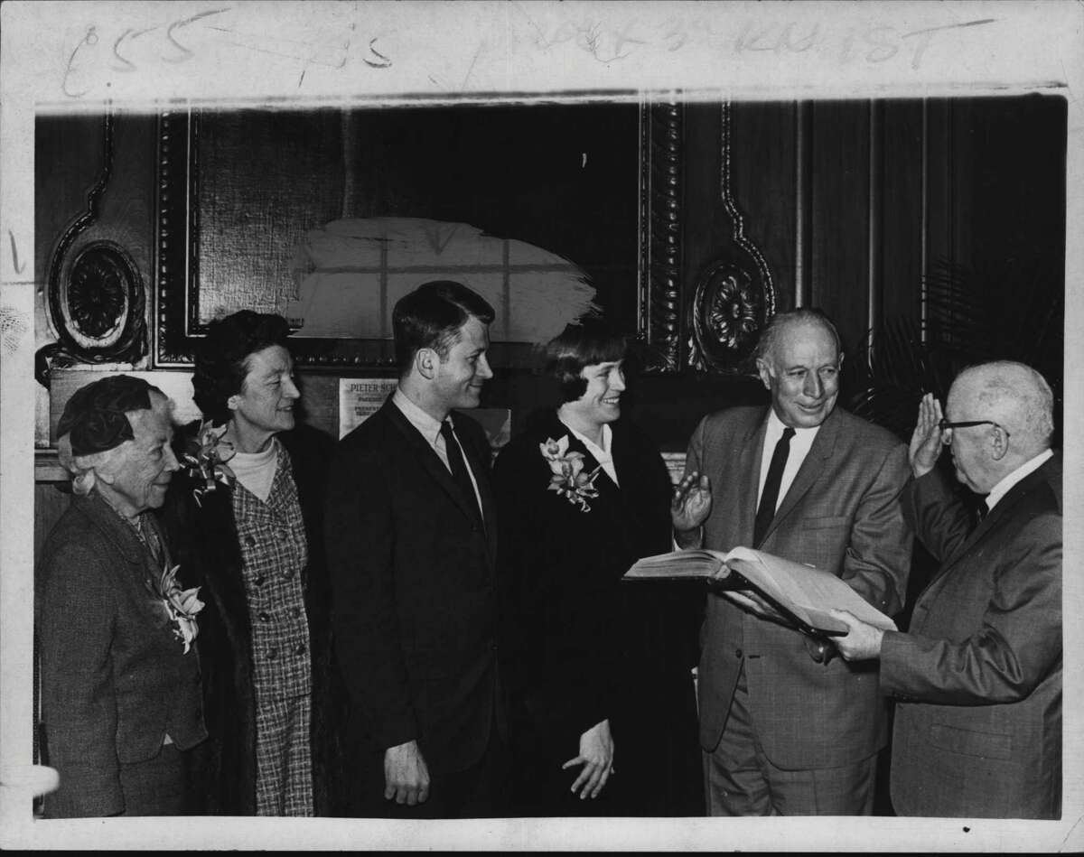 Mrs. Edwin Corning, Mrs. Erastus Corning, Erastus Corning III, Mrs. Elizabeth Dudley (daughter Maya), Mayor Erastus Corning, and Francis Bergan, seen in 1970 (Bud Hewig/Times Union Archive)