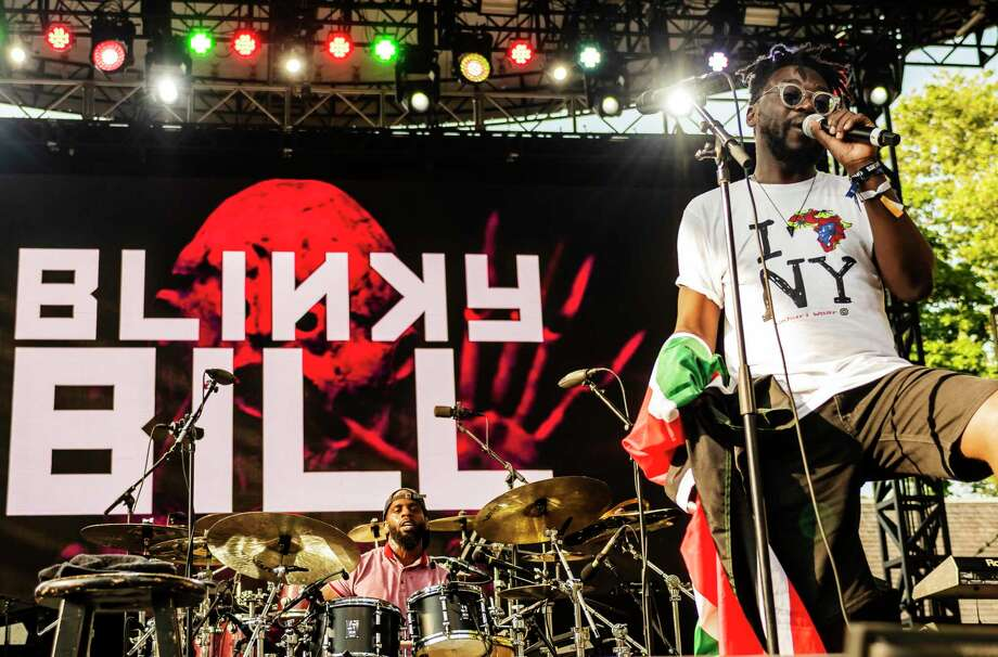 Kenyan performer Blinky Bill and his band perform onstage at Central Park SummerStage, New York, New York, July 7, 2019. Photo: Jack Vartoogian/Getty Images / Archive Photos