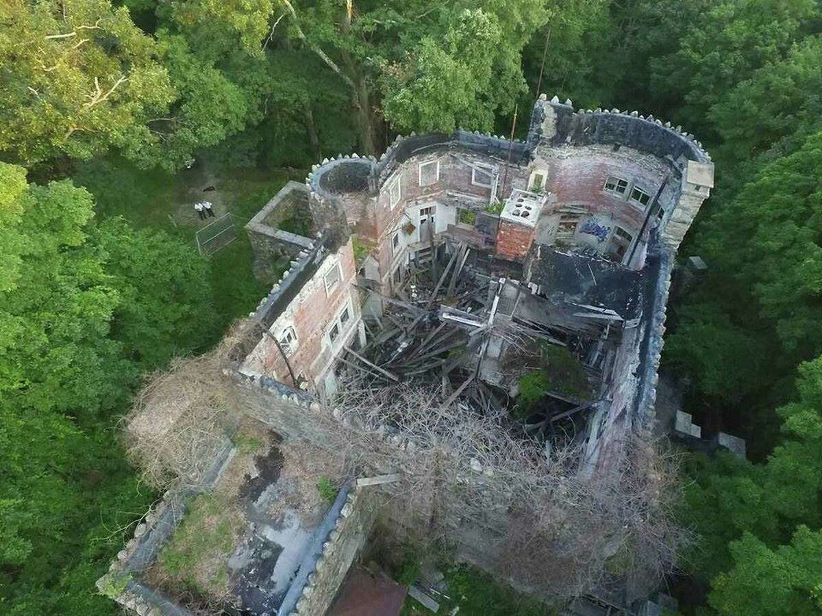 Hearthstone castle in Danbury, Conn. photographed from a drone.