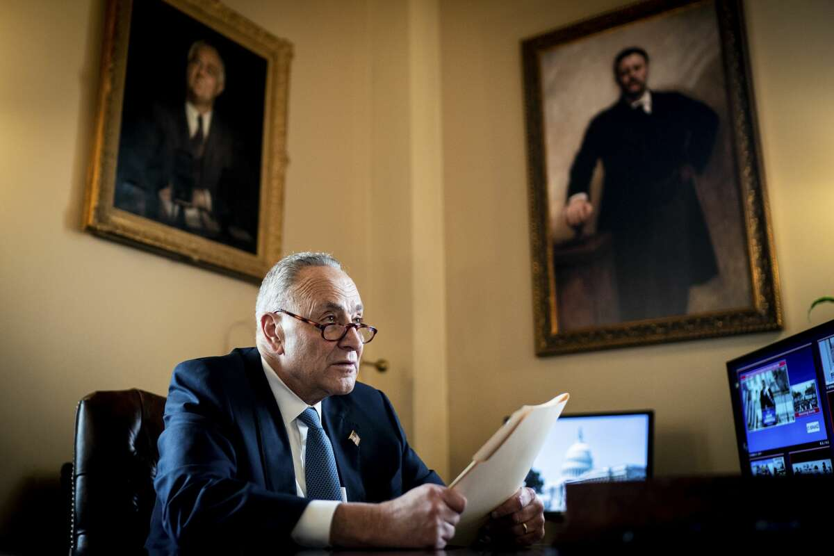 Senate Minority Leader Chuck Schumer works on a speech in his office on Capitol Hill on Wednesday, Jan. 6, 2021. Schumer is poised to become New York's first Senate majority leader. (Erin Schaff/The New York Times)