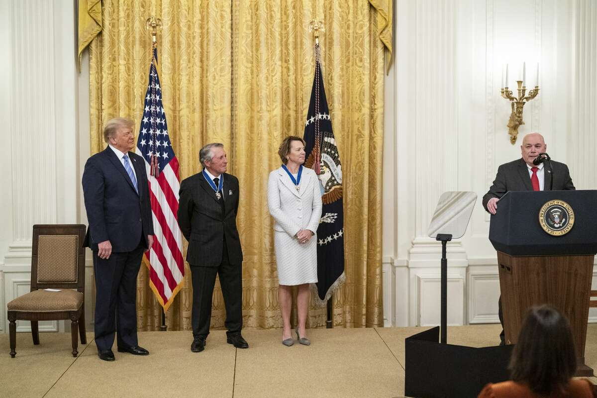 Beaumont City Councilman W. L. Pate, right, addresses an East Wing ceremony in which he accepted the Presidential Medal of Honor for Babe Zaharias. From left, President Donald Trump and the golfers Gary Player and Annika Sorenstam.