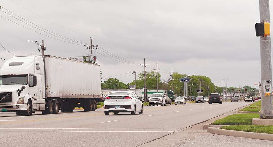 Cars and trucks travel along Morton Avenue, Jacksonville's main thoroughfare. The road was named for one of the city's earliest, most prominent people, Joseph Morton. Photo: Darren Iozia | Journal-Courier