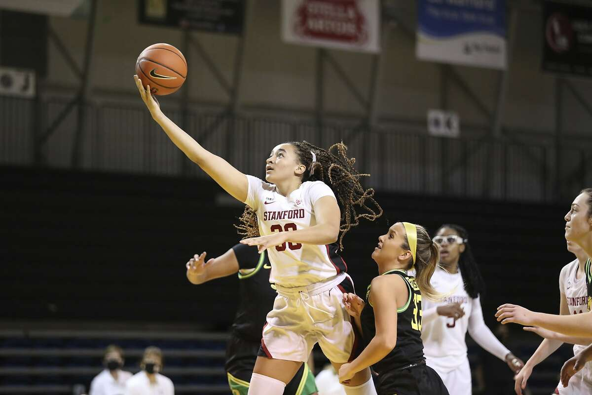 Stanford guard Haley Jones, playing in her hometown of Santa Cruz, heads to the hoop on her way to 18 poits against Oregon.