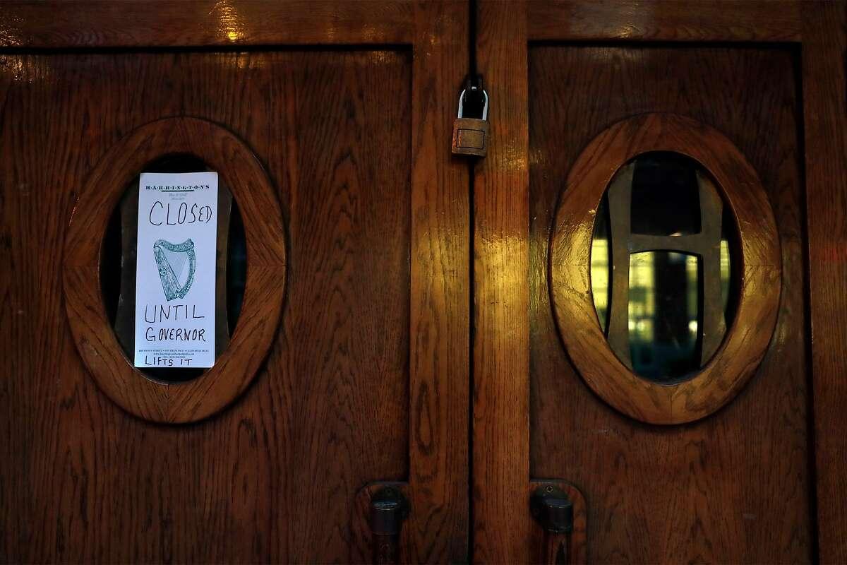 Closed businesses like Harrington's Bar & Grill in San Francisco