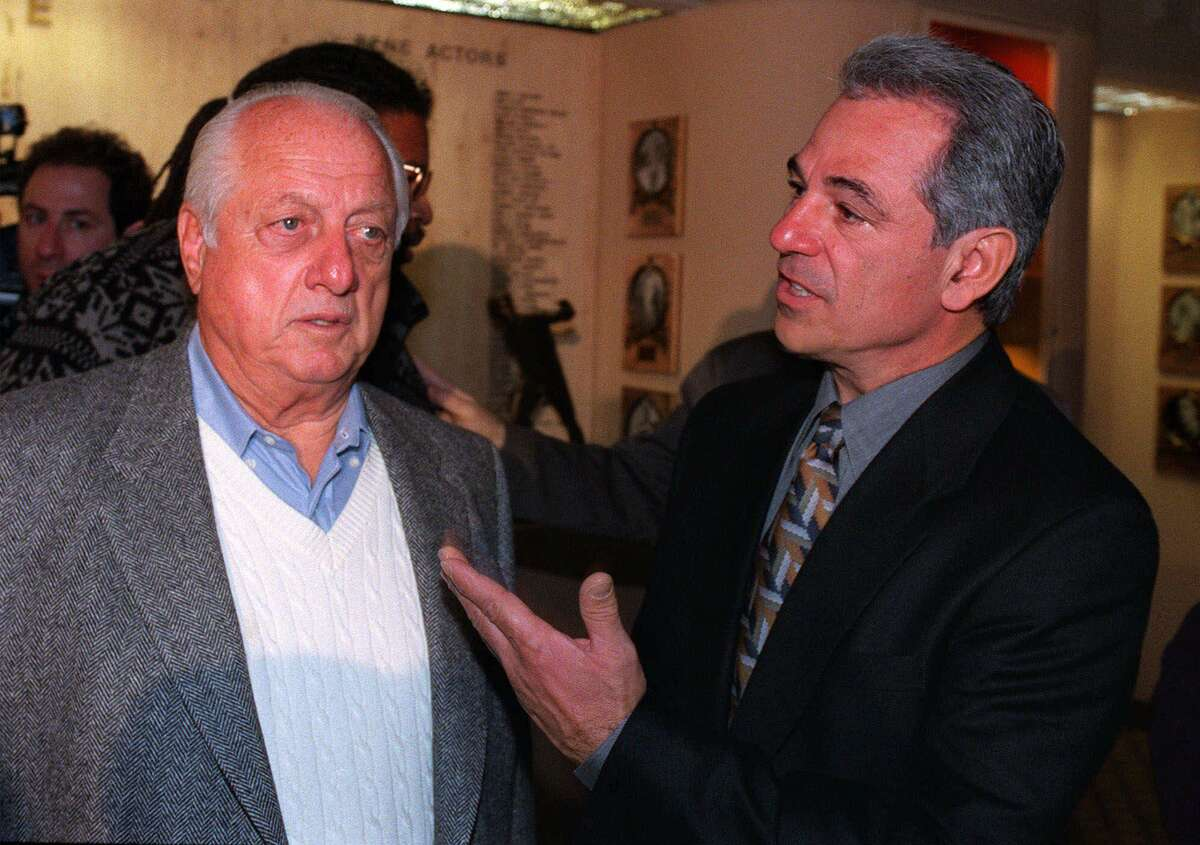 Tommy Lasorda, left, senior vice-president of the Los Angeles Dodgers, shares a moment with New York Mets manager Bobby Valentine Tuesday, Nov. 16, 1999, in New York. Valentine was honored as the New York Athletic Club's 1999 Manager of the Year and his close friend Lasorda was the principal speaker. (AP Photo/Joe Goldstein Public Relations, Inc.) HOUCHRON CAPTION (04/30/2000): Lasorda.