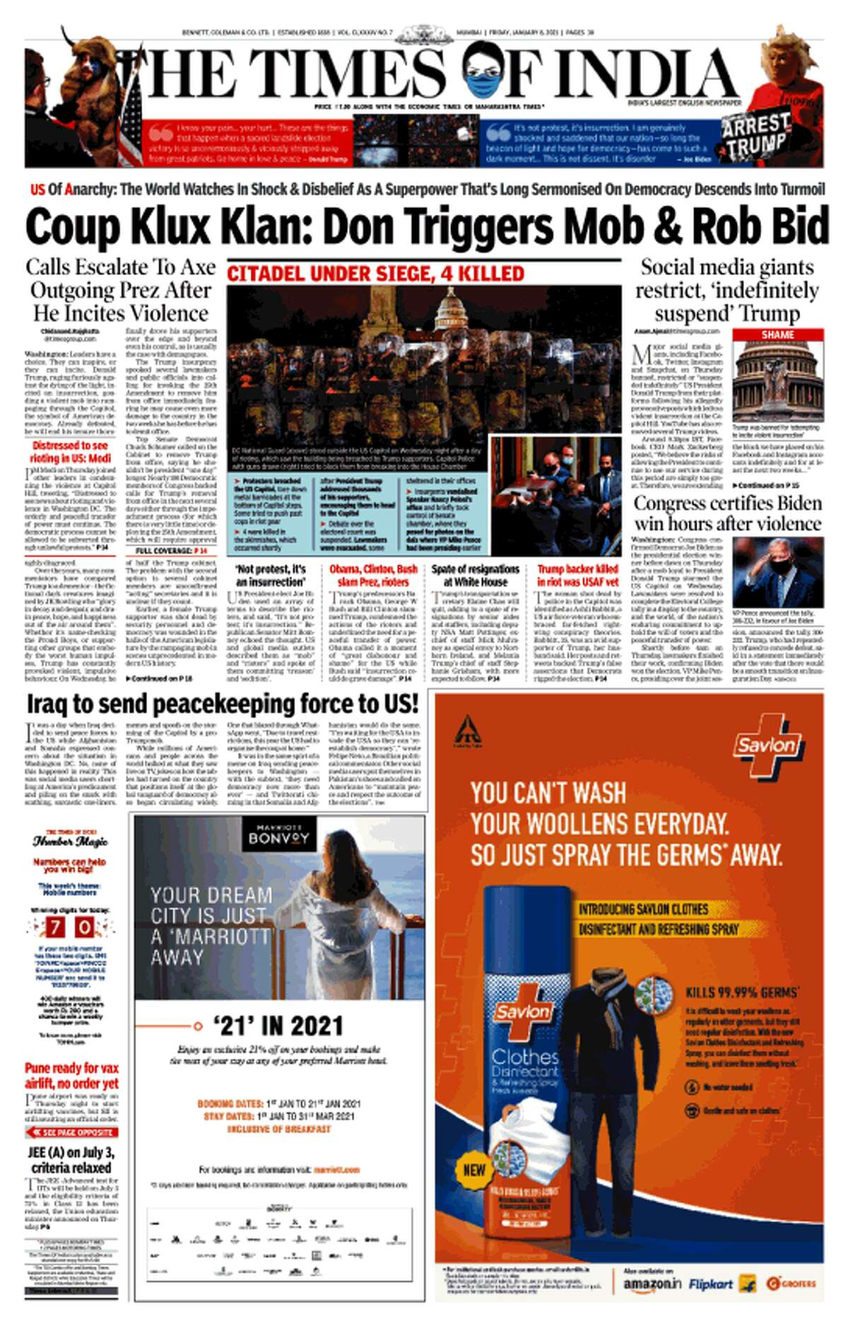 The Jan. 8 front page of The Times of India in New Delhi, India.