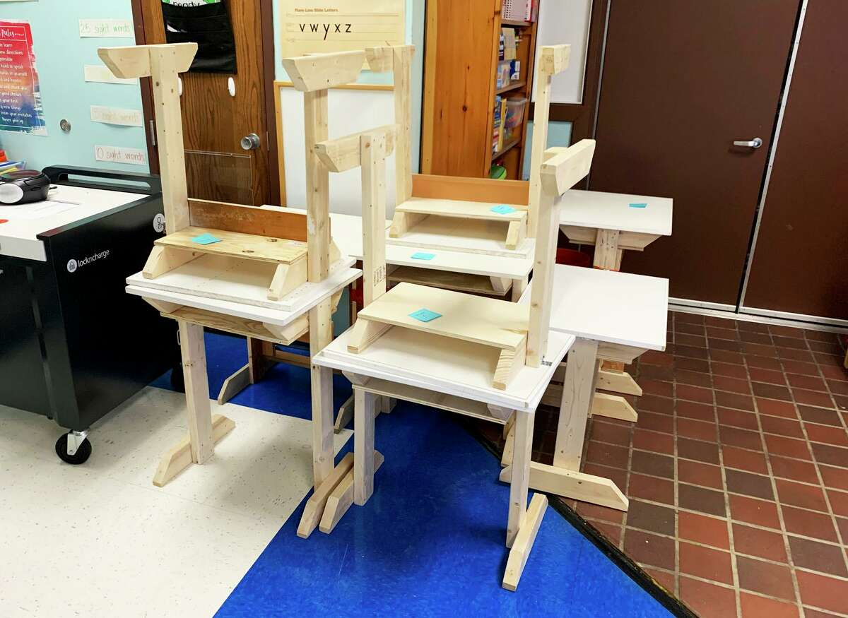 Middletown architect Steve Nelsen built 25 wooden desks for Macdonough Elementary School and donated them for students who don't have an adequate place to study. Nelsen, on the board of trustees for the Russell Library, had materials around his house and decided on the project to help families in need.