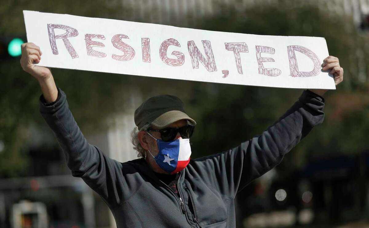 A protester wearing a Texas flag mask holds up a sign reading