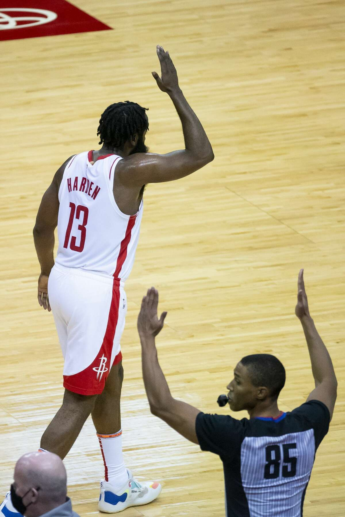 Houston Rockets guard James Harden (13) celebrates a three point shot during the second quarter of an NBA game between the Houston Rockets and Orlando Magic on Friday, Jan. 8, 2021, at Toyota Center in Houston.