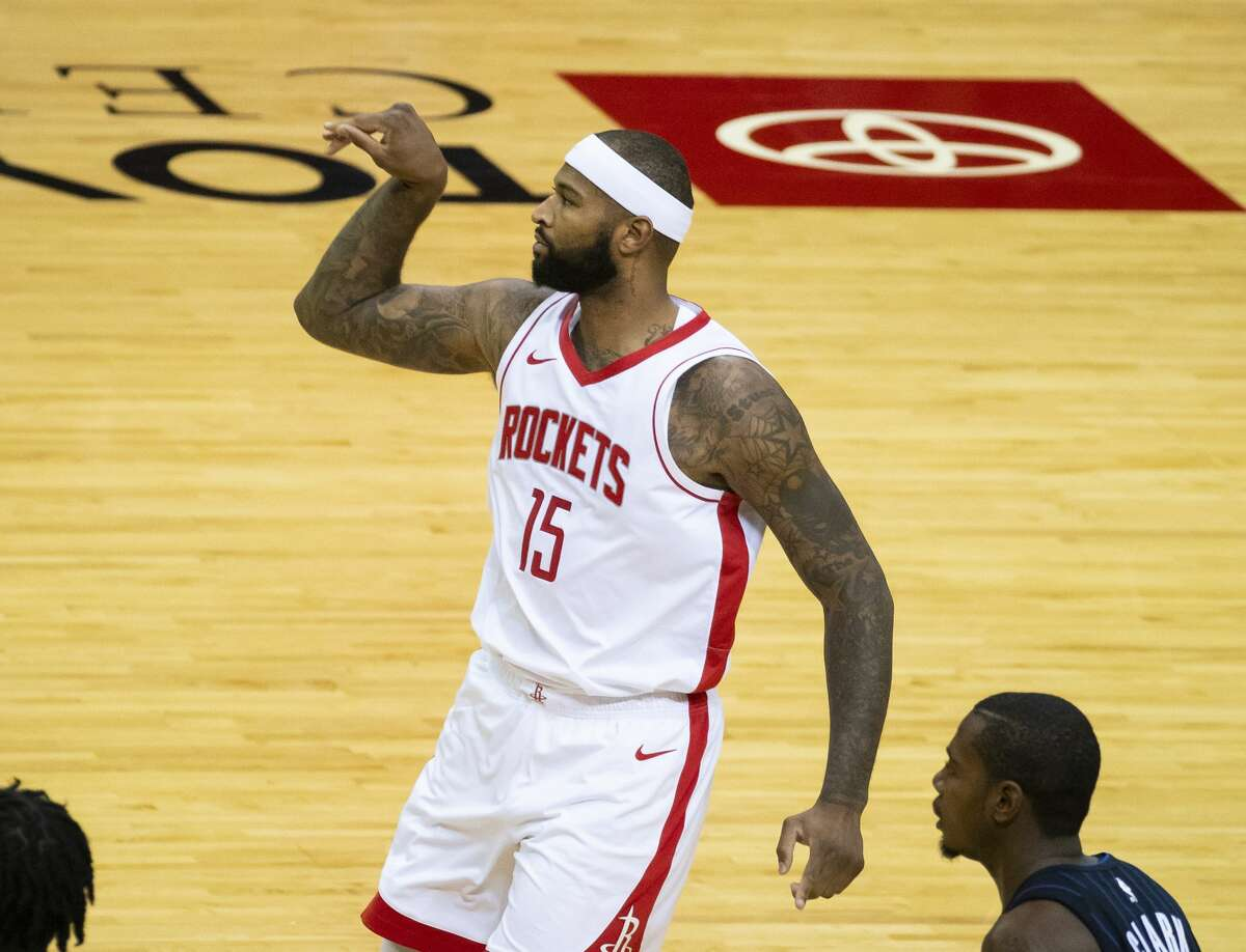 Houston Rockets center DeMarcus Cousins (15) watches a shot fail to fall during the first quarter of an NBA game between the Houston Rockets and Orlando Magic on Friday, Jan. 8, 2021, at Toyota Center in Houston.