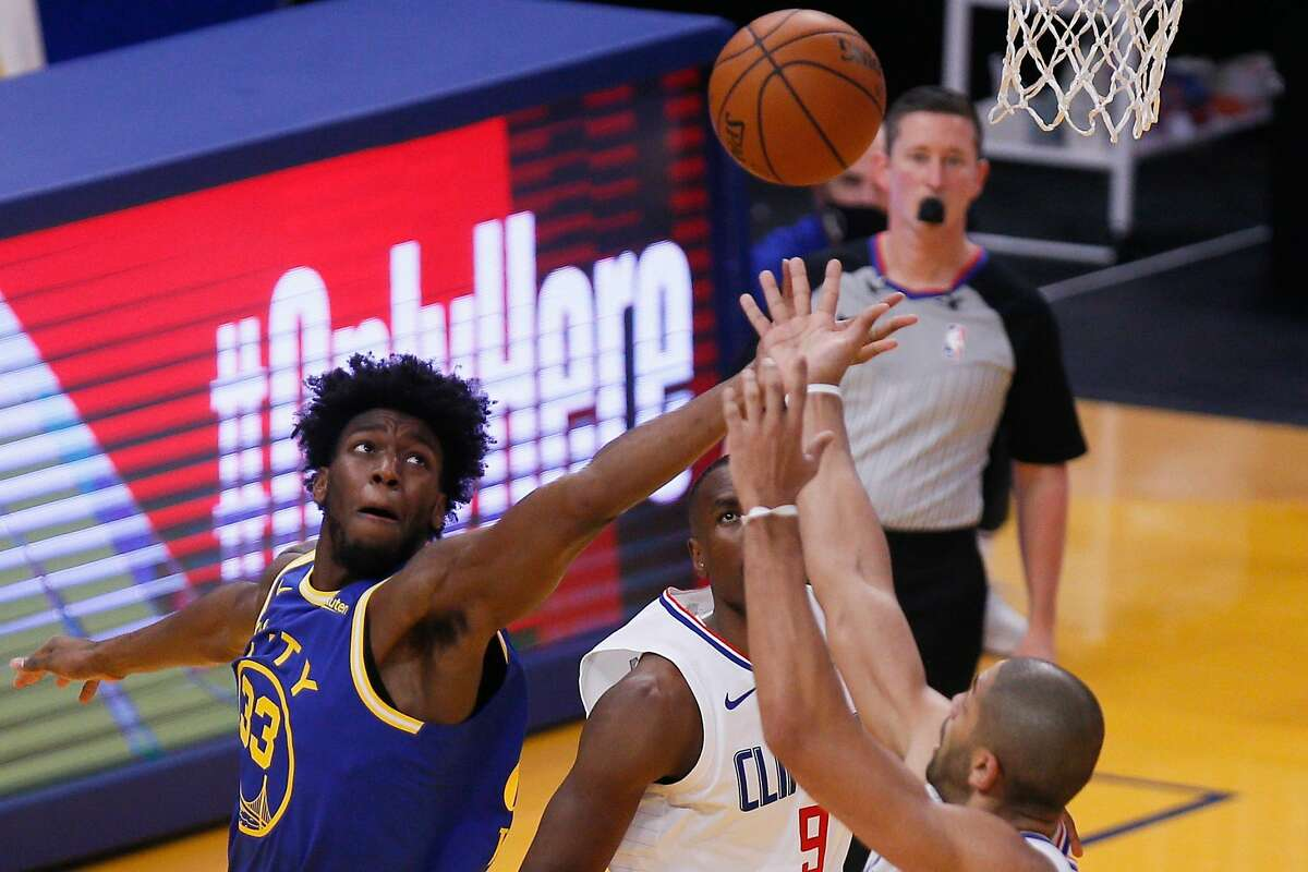 Golden State center James Wiseman (33) leads all NBA rookies with 6.0 rebounds and 1.7 blocked shots per game.