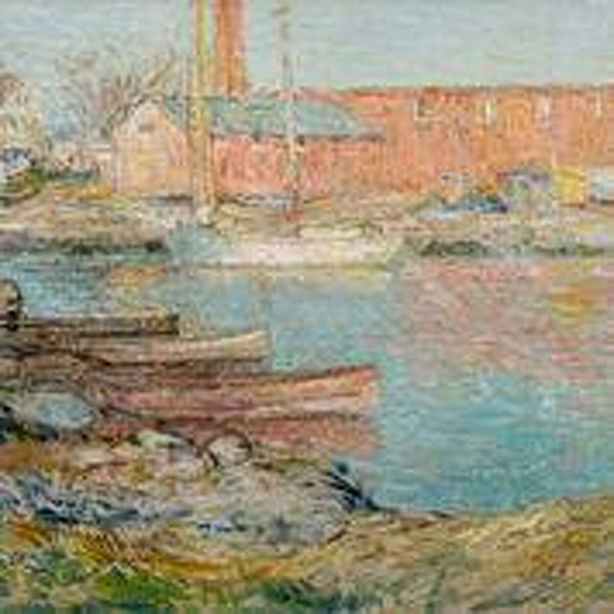 Childe Hassam's 'The Red Mill, Cos Cob' is an 1896 oil on canvas that is a centerpiece of the new exhibit that opens to members this week and to the general public by reservation on Saturday.