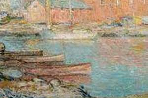 Childe Hassam, The Red Mill, Cos Cob, 1896. Oil on canvas. Greenwich Historical Society, Museum Purchase with funds from Susan and Jim Larkin, Sally and Larry Lawrence, Mr. and Mrs. Peter L. Malkin, Debbie and Russ Reynolds, Reba and Dave Williams, and Lily Downing and David Yudain.