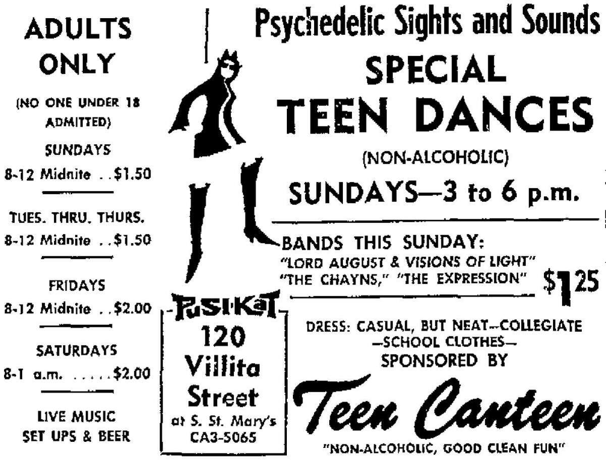 This advertisement touting the Pusi-Kat Club in downtown San Antonio was published in the San Antonio Express on April 29, 1967.