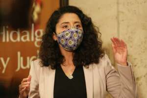 Harris County Judge Lina Hidalgo says the region is subject to the state's rollbacks in essential business occupancy based on the current surge in local COVID-19 hospitalization rates during a press conference Tuesday, Jan. 5, 2021, in Houston. Hidalgo said the public should take this as a warning to be vigilant, and also encouraged the public to receive the vaccines if they are qualified.