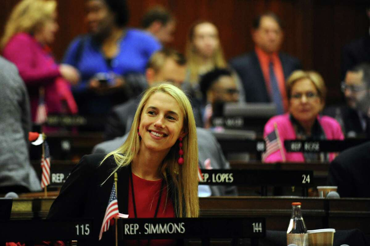 Rep. Caroline Simmons, D-Stamford, during the Connecticut State Legislature's first session of the year inside the House chamber of the State Capitol in Hartford, Connecticut, on Wednesday, Feb. 7, 2018.