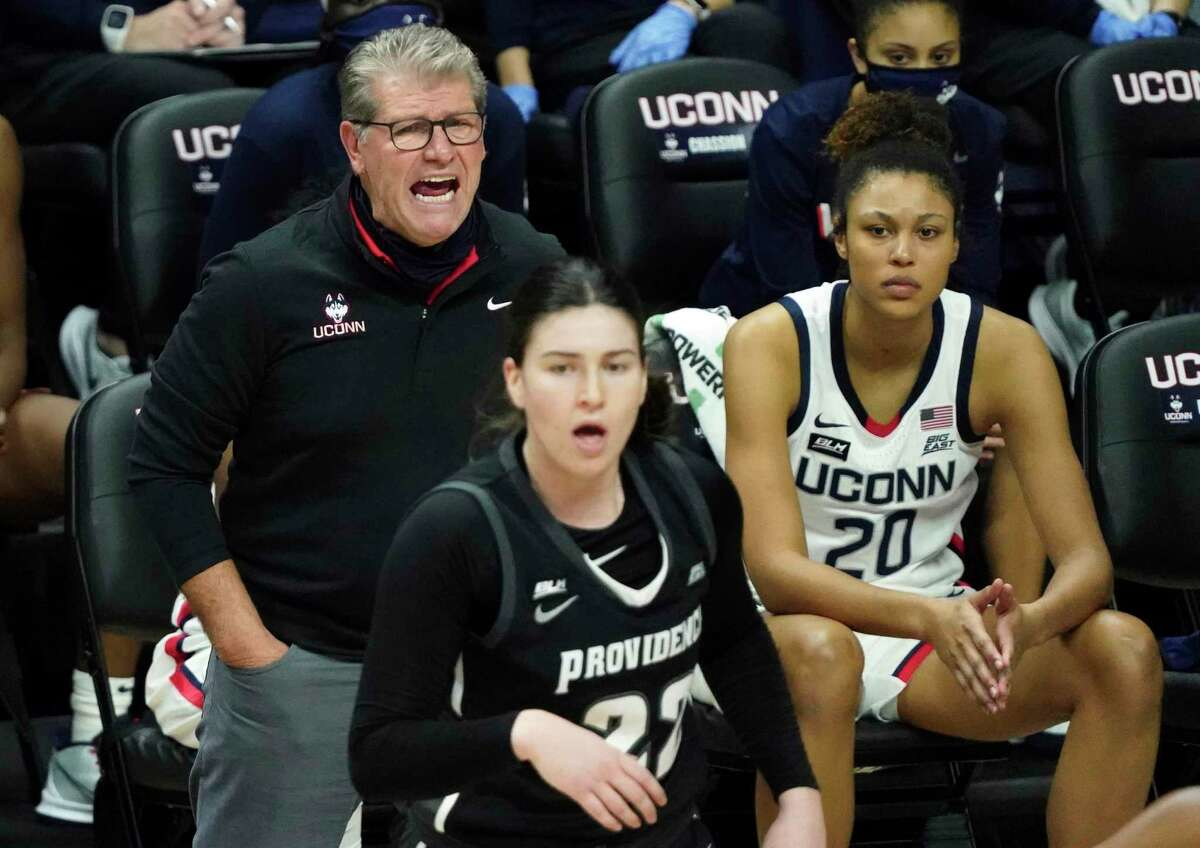 UConn coach Geno Auriemma shouts from the sideline during the first half against Providence on Saturday.