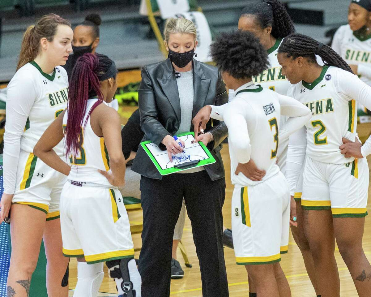 Siena girls basketball coach Ali Jaques lays out a play for her team during a Metro Atlantic Athletic Conference game against Rider University at the Alumni Recreation Center on the Siena campus in Loudonville, NY, on Saturday, Jan. 9, 2020 (Jim Franco/special to the Times Union.)