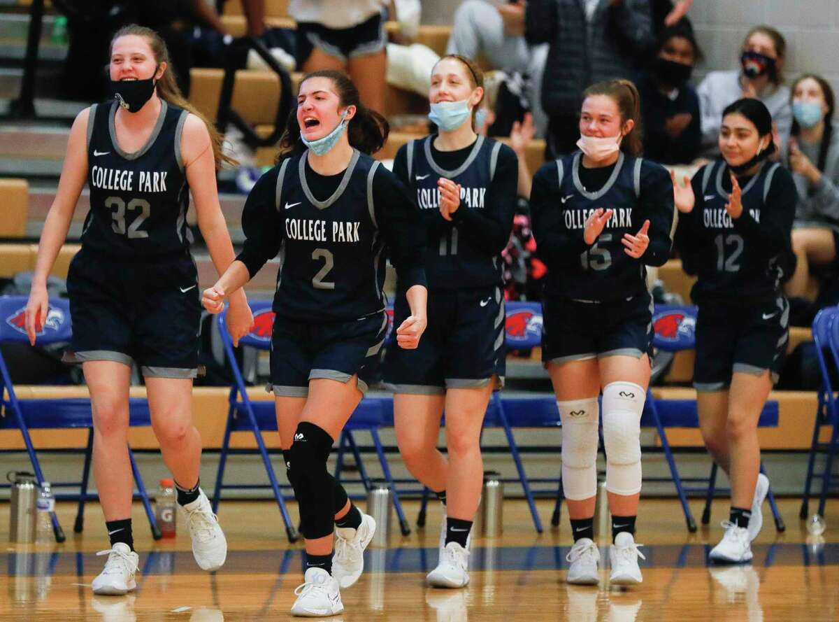 In this file photo, College Park guard Gracie Garcia (2) reacts as a timeout is called during the fourth quarter of a District 13-6A high school basketball game at Oak Ridge High School, Saturday, Jan. 2, 2020.