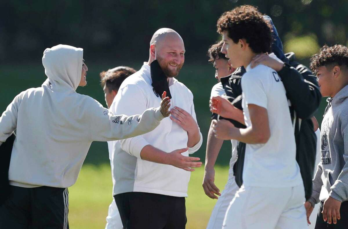 Conroe head coach reacts after the team's come-from-behind win over Sharpstown during the Kilt Cup soccer tournament, Saturday, Jan. 9, 2021, in Conroe. Conroe's Bryan Cruz game-winning goal with 27 seconds remaining gave the Tigers a 4-3 win.
