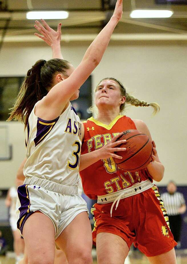 Ferris' Zoe Anderson goes up for the basket during the weekend games at Ashland, Ohio. (Photo courtesy of Kevin McDermott)