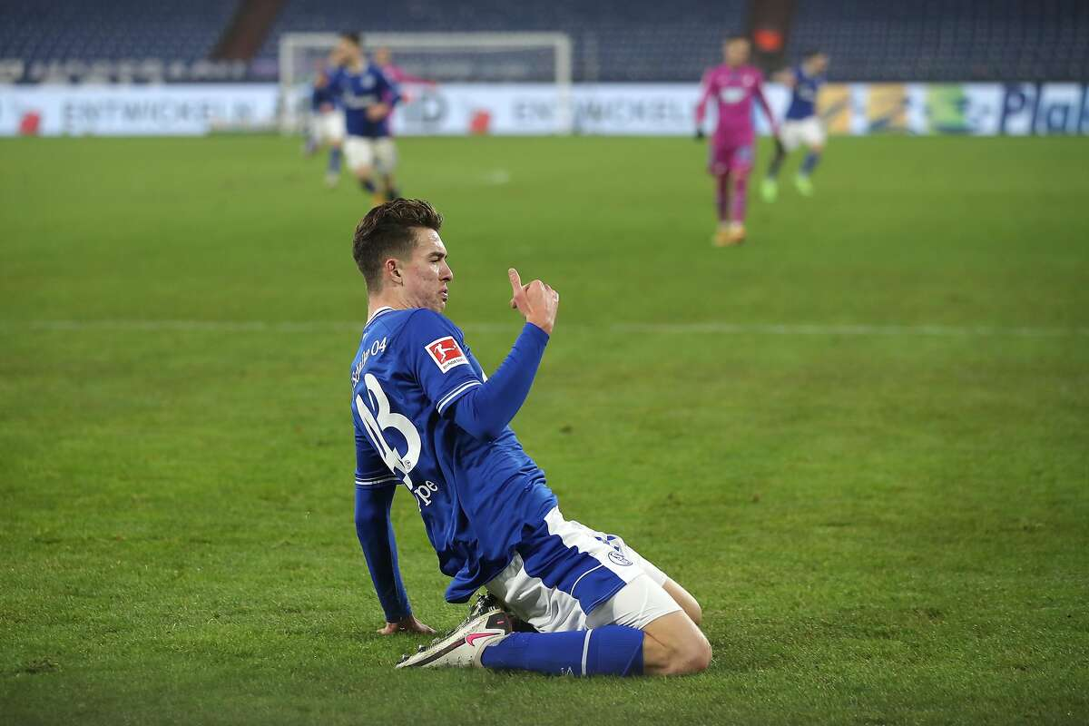 Matthew Hoppe, 19, became the first American to score a hat trick in Bundesliga play as Schalke beat Hoffenheim 4-0.